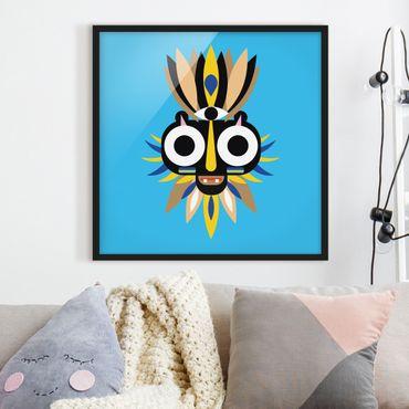 Bild mit Rahmen - Collage Ethno Maske - Große Augen - Quadrat 1:1