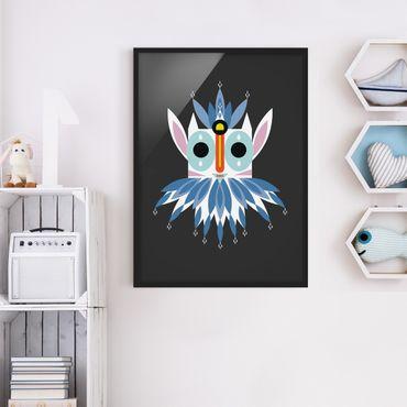 Bild mit Rahmen - Collage Ethno Maske - Gnom - Hochformat 4:3