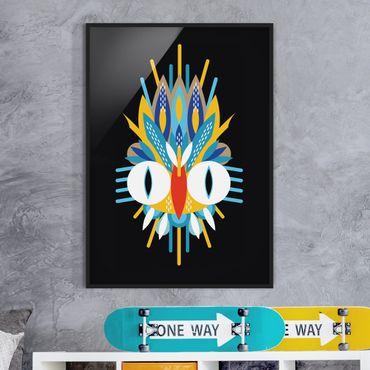 Bild mit Rahmen - Collage Ethno Maske - Vogel Federn - Hochformat 4:3