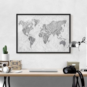 Bild mit Rahmen - Papier Weltkarte Weiß Grau - Querformat 3:4