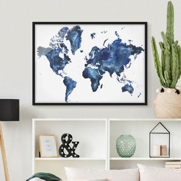 Bild mit Rahmen - Wasser-Weltkarte hell - Querformat 3:4