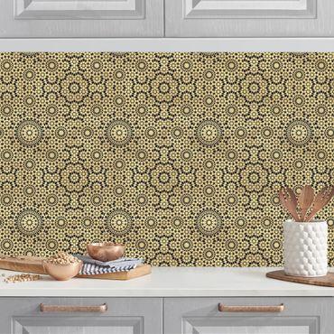Küchenrückwand - Orientalisches Muster mit goldenen Sternen