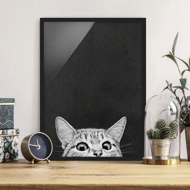Bild mit Rahmen - Illustration Katze Schwarz Weiß Zeichnung - Hochformat 4:3