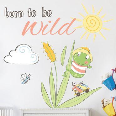 Mehrfarbiges Wandtattoo - Frosch Born to be wild