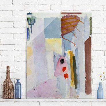 Glasbild - Kunstdruck August Macke - Frau auf der Straße - Hoch 3:4