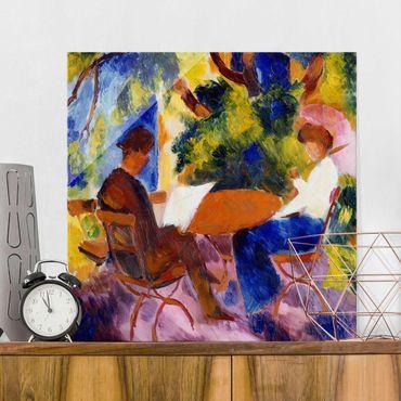Glasbild - Kunstdruck August Macke - Paar am Gartentisch - Quadrat 1:1