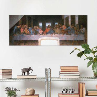 Glasbild - Kunstdruck Leonardo da Vinci - Das letzte Abendmahl - Panorama Quer