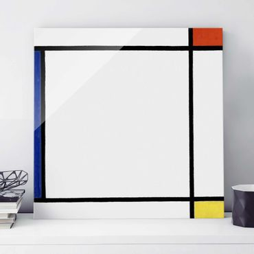 Glasbild - Kunstdruck Piet Mondrian - Komposition III mit Rot, Gelb und Blau - Quadrat 1:1