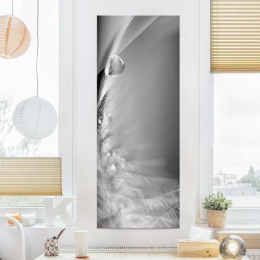 Glasbild - Story of a Waterdrop Black White - Panorama Hoch