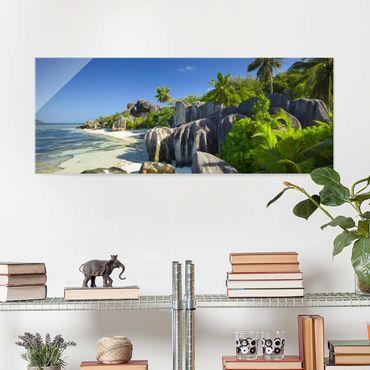 Glasbild - Traumstrand Seychellen - Panorama Quer