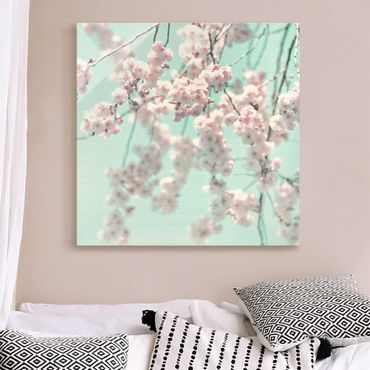 Glasbild - Kirschblütentanz auf Leinenstruktur - Quadrat