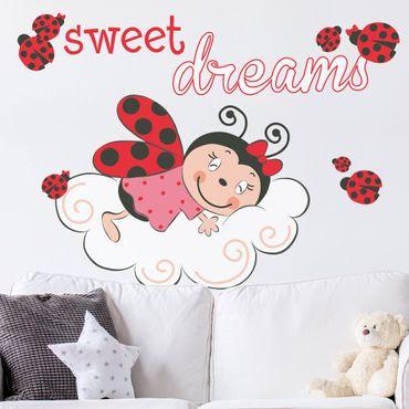 Mehrfarbiges Wandtattoo - Marienkäfer Sweet Dreams