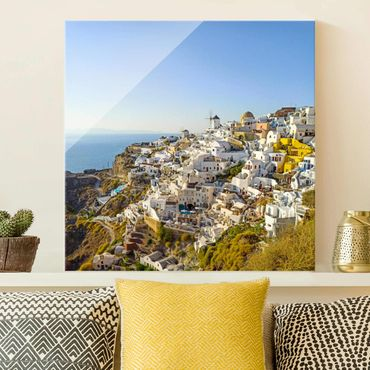 Glasbild - Oia auf Santorini - Quadrat