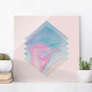 Glasbild - Pinkes Wasser Marmor - Quadrat