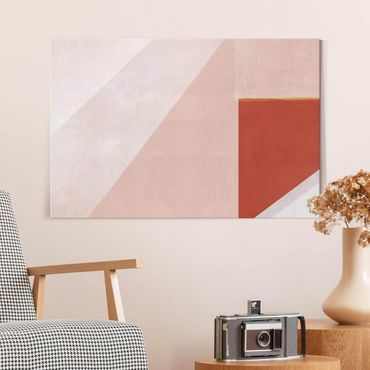 Glasbild - Rosa Geometrie - Querformat