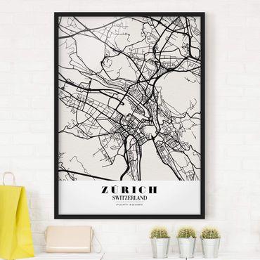 Bild mit Rahmen - Stadtplan Zürich - Klassik - Hochformat 3:4