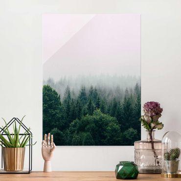 Glasbild - Wald im Nebel Dämmerung - Hochformat