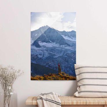 Glasbild - Wegmarkierung in den Alpen - Hochformat
