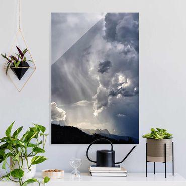 Glasbild - Wilde Wolken - Hochformat