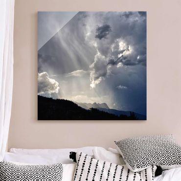 Glasbild - Wilde Wolken - Quadrat