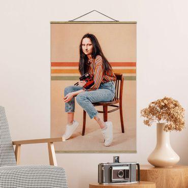 Stoffbild mit Posterleisten - Jonas Loose - Retro Mona Lisa - Hochformat 2:3