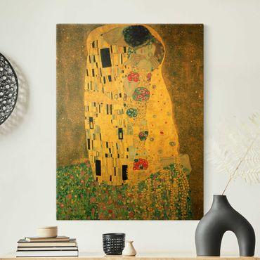 Leinwandbild Gold - Gustav Klimt - Der Kuß - Hochformat 3:4