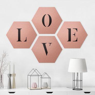 Hexagon Bild Alu-Dibond 4-teilig - Buchstaben LOVE Schwarz Set II