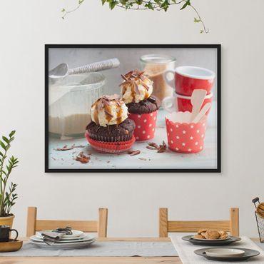 Bild mit Rahmen - Vintage Cupcakes mit Eis - Querformat 3:4