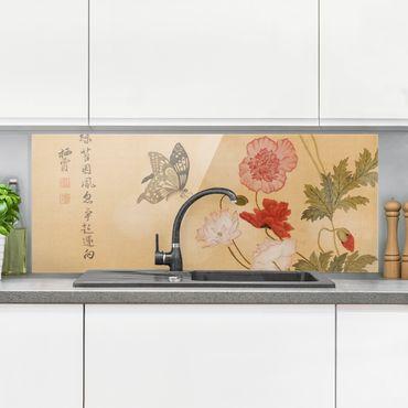 Spritzschutz Glas - Yuanyu Ma - Mohnblumen und Schmetterlinge - Panorama