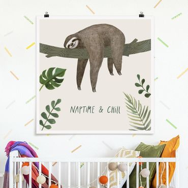 Poster - Faultier Sprüche - Chill - Quadrat 1:1