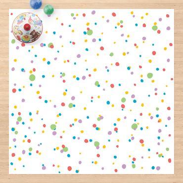 Vinyl-Teppich - Gezeichnete kleine Punkte Kunterbunt - Quadrat 1:1