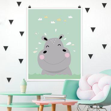 Poster - Das glückliche Nilpferd - Hochformat 3:4