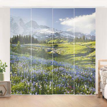 Schiebegardinen Set - Bergwiese mit Blumen vor Mt. Rainier - Flächenvorhänge
