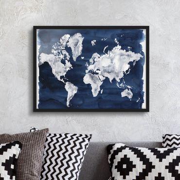 Bild mit Rahmen - Wasser-Weltkarte dunkel - Querformat 3:4