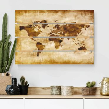Holzbild - No.CG75 Map of the World - Querformat 2:3