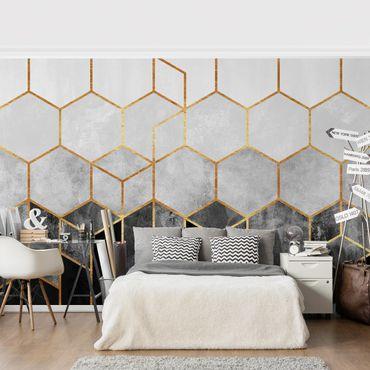 Fototapete - Goldene Sechsecke Schwarz Weiß - Fototapete Quadrat