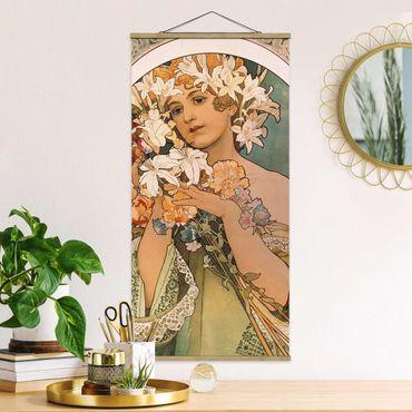 Stoffbild mit Posterleisten - Alfons Mucha - Blume - Hochformat 2:1