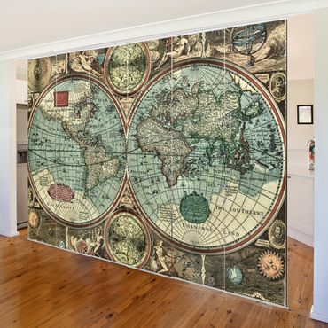 Schiebegardinen Set - Die alte Welt - Flächenvorhänge