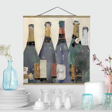 Stoffbild mit Posterleisten - Entkorkt - Champagner - Quadrat 1:1