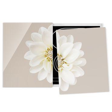 Herdabdeckplatte Glas - Dahlie Weiß Taupe Pastel Zentriert - 52x80cm