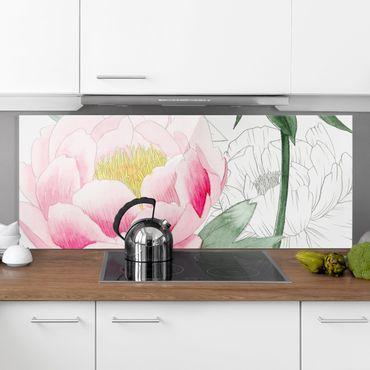 Spritzschutz Glas - Zeichnung Rosa Päonien II - Panorama