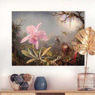 Leinwandbild - Martin Johnson Heade - Orchidee und drei Kolibris - Querformat 3:4