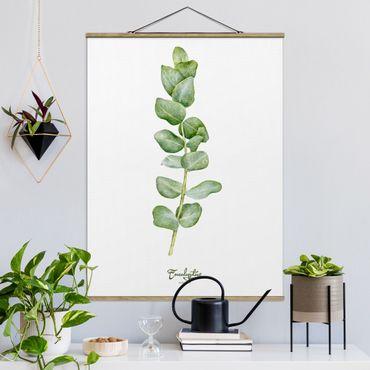 Stoffbild mit Posterleisten - Aquarell Botanik Eukalyptus - Hochformat 4:3