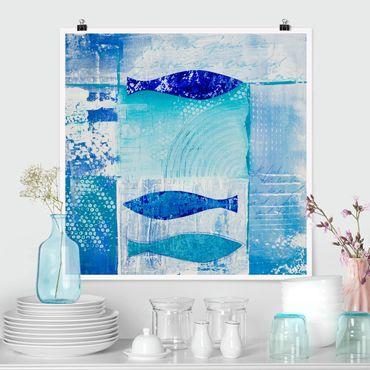 Poster - Fish in the Blue - Quadrat 1:1