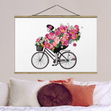 Stoffbild mit Posterleisten - Laura Graves - Illustration Frau auf Fahrrad Collage bunte Blumen - Querformat 3:2