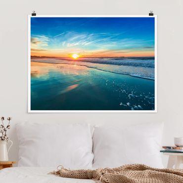 Poster - Romantischer Sonnenuntergang am Meer - Querformat 3:4