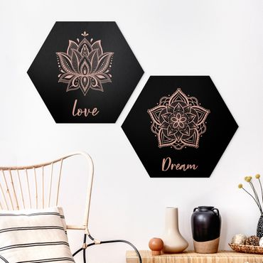 Hexagon Bild Alu-Dibond 2-teilig - Mandala Dream Love Set Schwarz