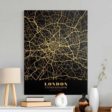 Leinwandbild Gold - Stadtplan London - Klassik Schwarz - Hochformat 3:4