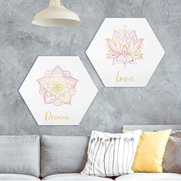 Hexagon Bild Alu-Dibond 2-teilig - Mandala Dream Love Set Gold Rosa