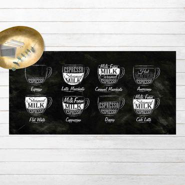Vinyl-Teppich - Kaffeesorten Kreidetafel - Querformat 2:1